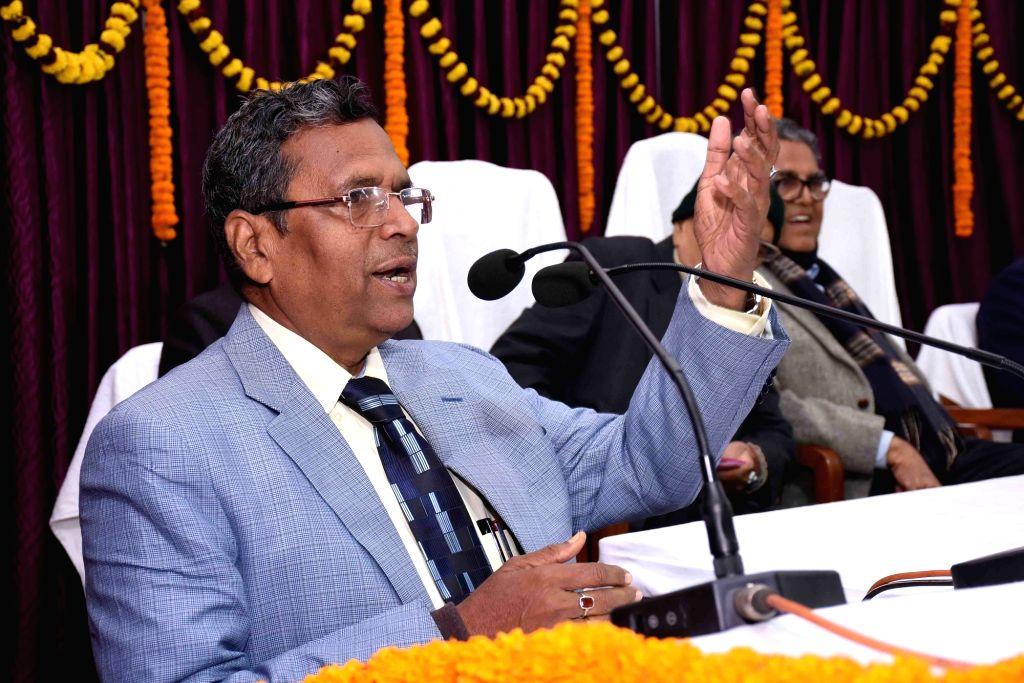 Patna University (PU) Vice Chancellor Rash Bihari Prasad Singh addresses at the 158th Foundation Day of the university, in Patna on Jan 9, 2020.