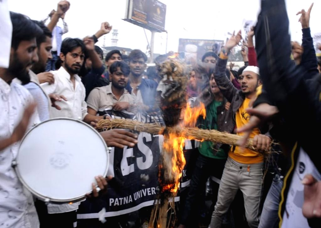 Patna University students stage a demonstration against the Citizenship Amendment Bill (CAB) 2019, in Patna on Dec 12, 2019.