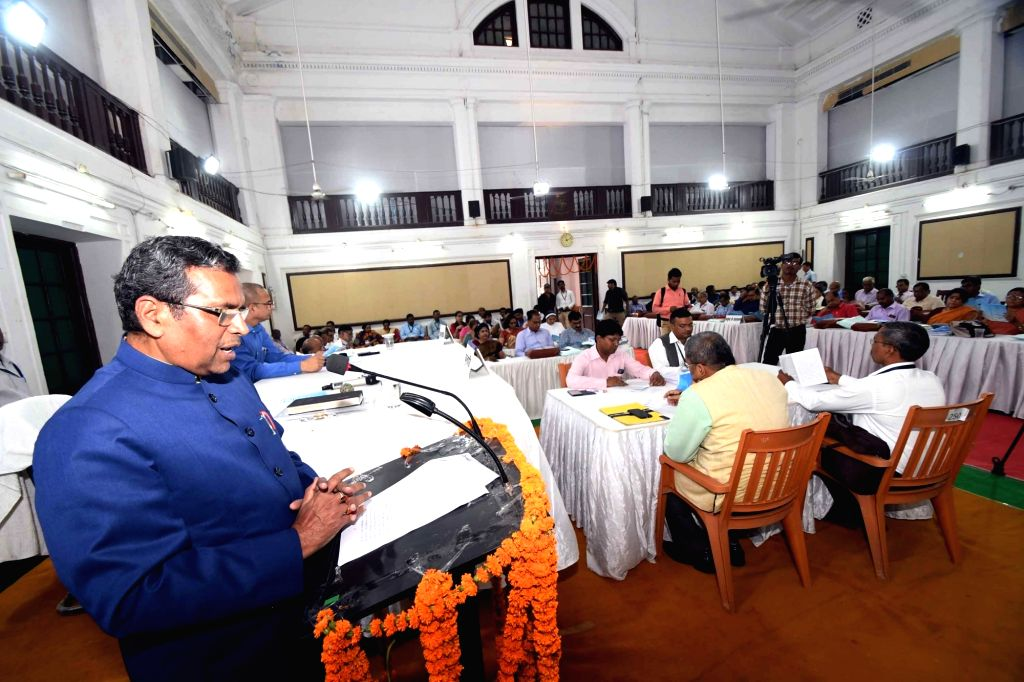 Patna University Vice Chancellor Ras Bihari Prasad Singh addresses during the annual meeting of the university's senate, on Nov 14, 2019.