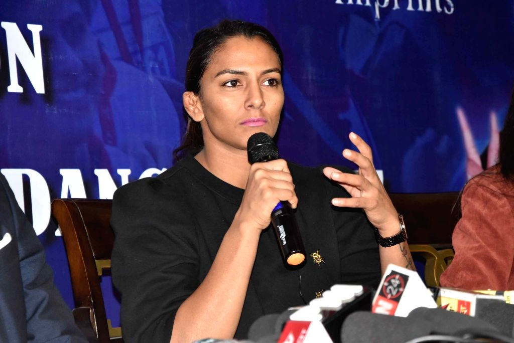 Patna: Wrestler Geeta Phogat during a press conference at the launch of a jersey for Patna Marathon, on Dec 15, 2018. (Photo: IANS)