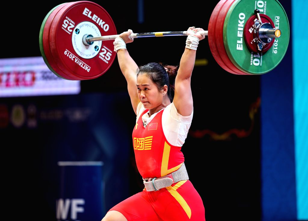 PATTAYA, Sept. 23, 2019 - Deng Wei of China competes during the women's weightlifting 64kg event at the 2019 World Weightlifting Championships held at Pattaya, Thailand, Sept. 22, 2019.