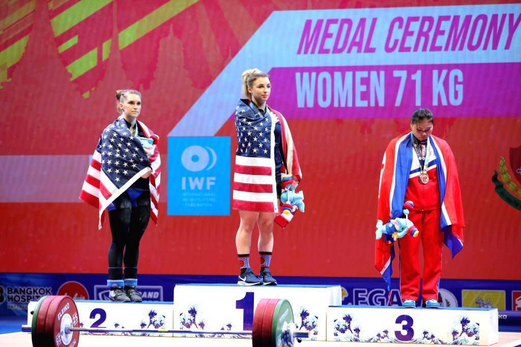 PATTAYA, Sept. 23, 2019 - Gold medalist Katherine Nye (C) and silver medalist Martha Rogers (L) of the United States and bronze medalist Kim Hyo-sim of the Democratic People's Republic of Korea ...