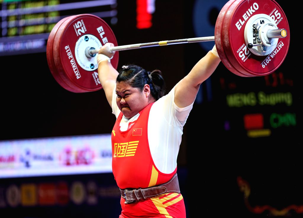 PATTAYA, Sept. 27, 2019 - Meng Suping of China competes during the women's weightlifting +87kg event at the 2019 World Weightlifting Championships held at Pattaya, Thailand, Sept. 27, 2019.