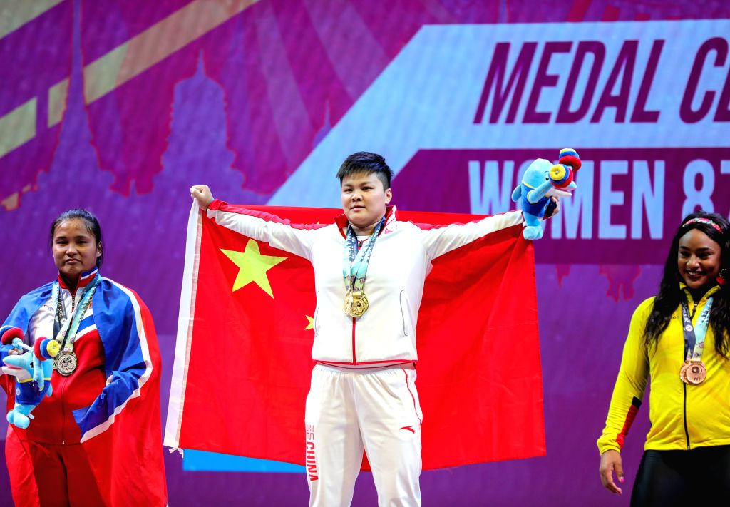 PATTAYA, Sept. 27, 2019 - Wang Zhouyu (C) of China, Kim Un-ju (L) of the Democratic People's Republic of Korea and Tamara Yajaira Salazar Arce of Ecuador attend the victory ceremony after the women's ...