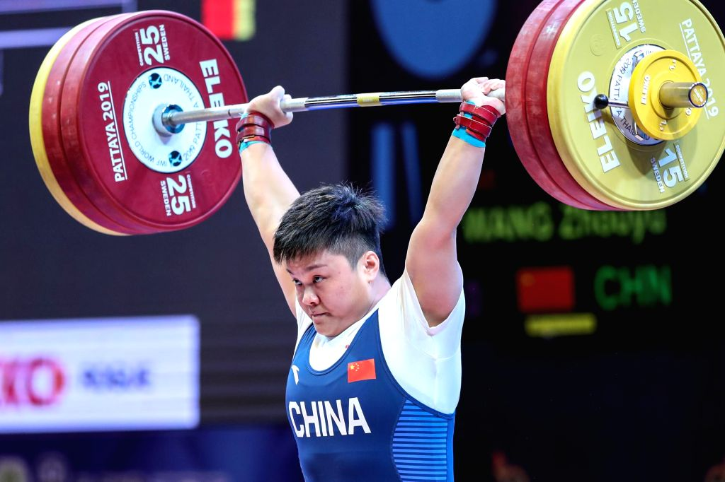 PATTAYA, Sept. 27, 2019 - Wang Zhouyu of China competes during the women's weightlifting 87kg event at the 2019 World Weightlifting Championships held at Pattaya, Thailand, Sept. 26, 2019.