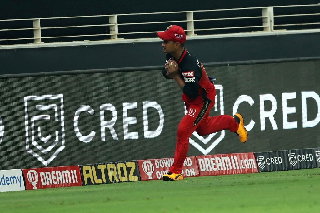 Pawan Negi of Royal Challengers Bangalore after taking the catch to dismiss Hardik Pandya of Mumbai Indians during match 10 of season 13 of the Dream 11 Indian Premier League (IPL) between The ...