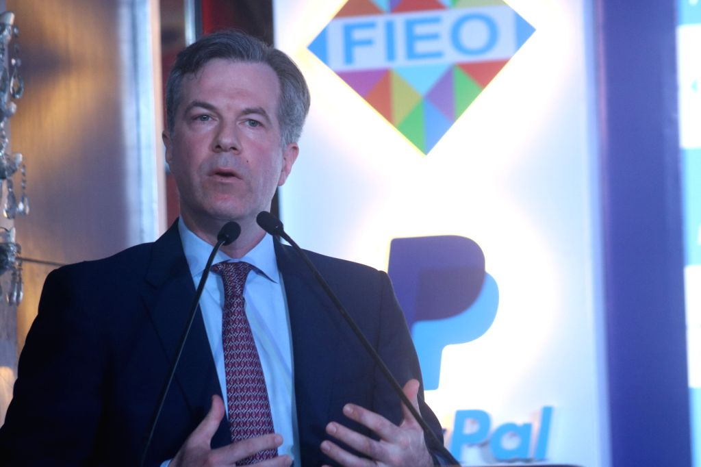 PayPal Vice President and Global Government Relations Head Richard Nash addresses during a programme where Federation of Indian Export Organisations (FIEO) signed an MoU with PayPal, in ...