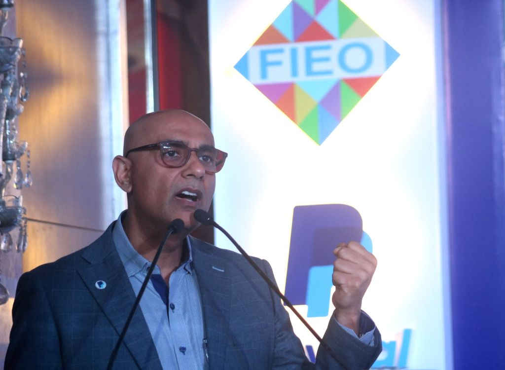 PayPpal India MD Anupam Pahuja addresses during a programme where Federation of Indian Export Organisations (FIEO) signed an MoU with PayPal, in New Delhi on April 5, 2018.