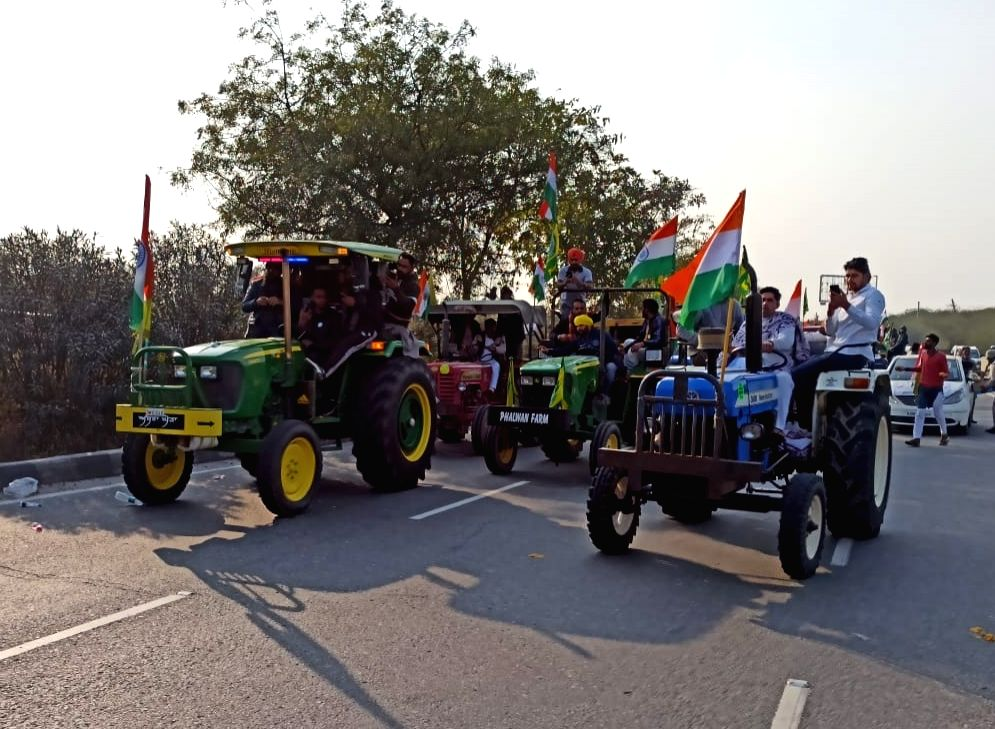 Peaceful farmers' rally in Gurugram on R-Day.