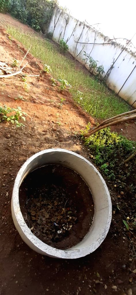 Peddapalli (Telangana): a compost pit and kitchen garden in a house