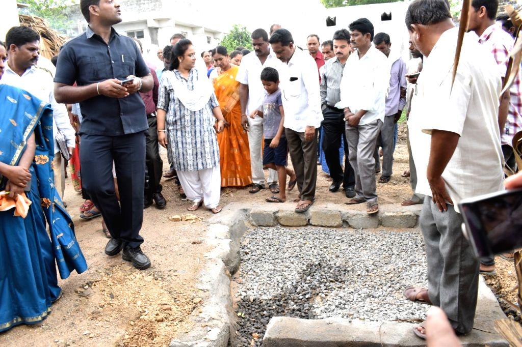 Peddapalli (Telangana): Peddapalli district collector Devasena inspecting community soak pit works
