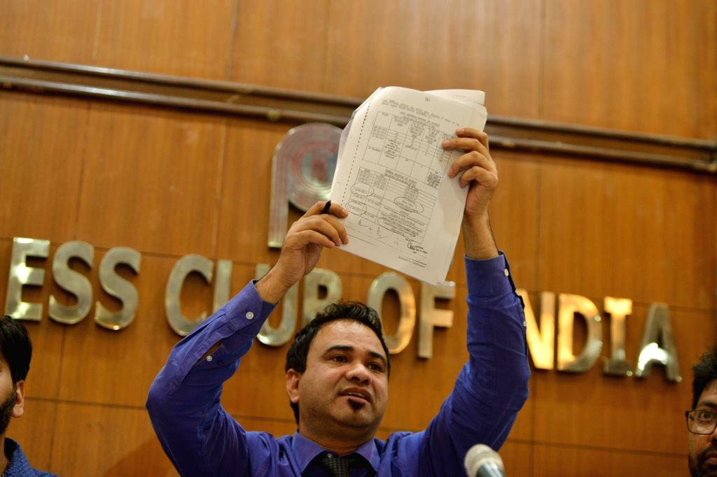 Pediatrician Dr Kafeel Khan, who was accused in the 2017 Gorakhpur children death case and was cleared of the charges, addresses a press conference in New Delhi on Sep 28, 2019. - Kafeel Khan