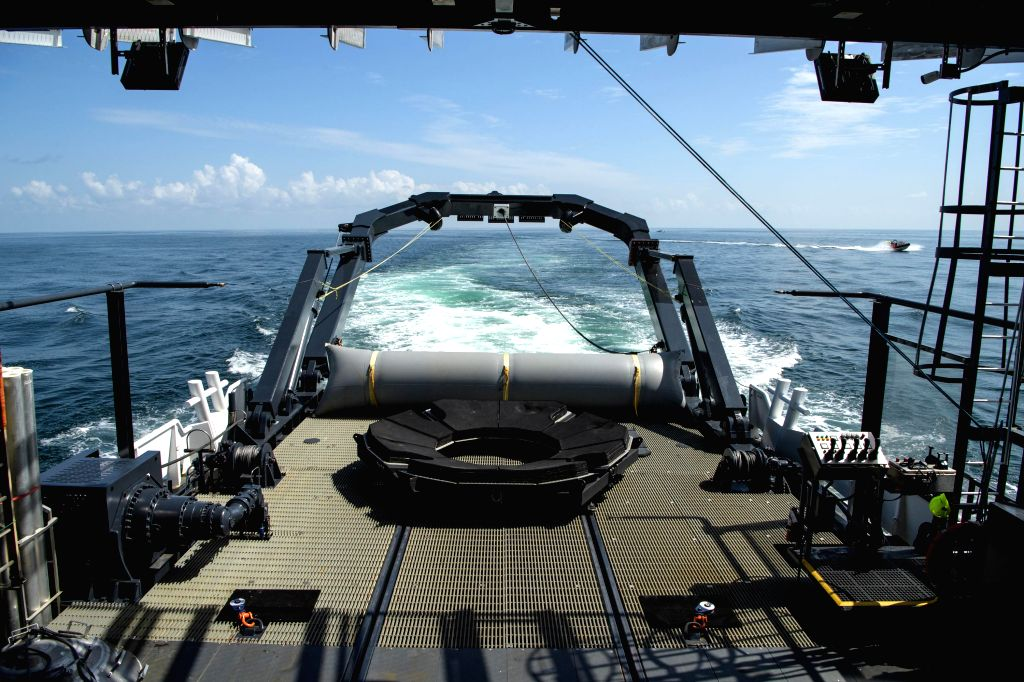 """Pensacola (U.S.), Aug. 2, 2020 The SpaceX recovery vessel GO Navigator is seen to prepare for a splashdown of the SpaceX Crew Dragon """"Endeavour"""" spacecraft off the coast of ..."""