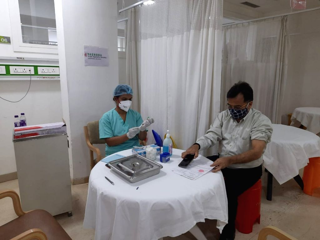 People applying Kovidshield vaccine at Yashoda Hospital in Ghaziabad.