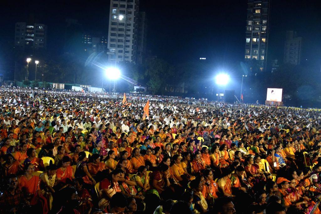 People at a Shiv Sena rally in Mumbai on Oct 8, 2019.