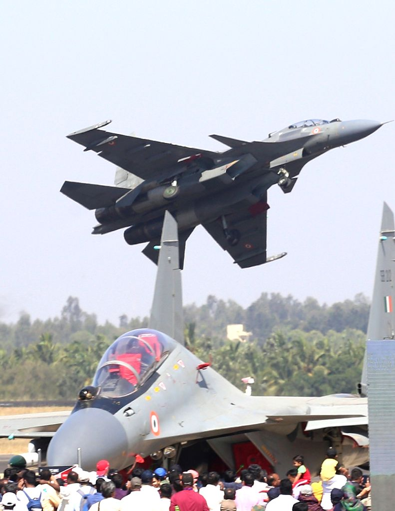 "People at Yelahanka Air Force Station during the ""Aero India 2019"" - air show, in Bengaluru, on Feb 22, 2019."