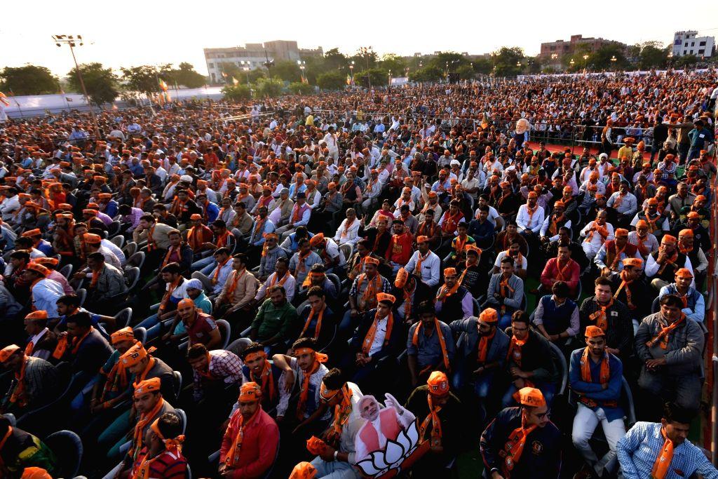 People attend Prime Minister Narendra Modi's rally in Jaipur on Dec 4, 2018. - Narendra Modi