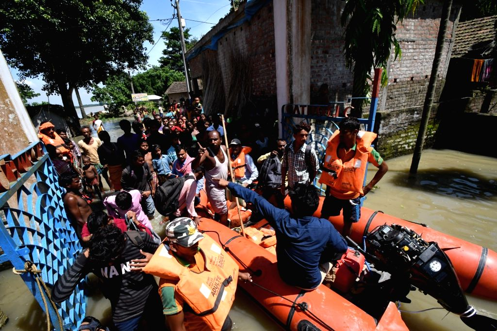 People being rescued in Katihar, Bihar on Aug 19, 2017.