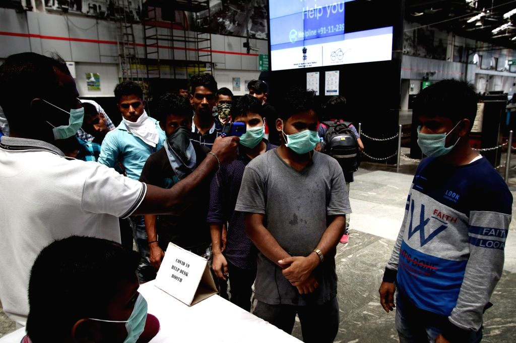 People being screened for COVID-19 (coronavirus) at the Chennai Central Railway Station, on March 17, 2020.