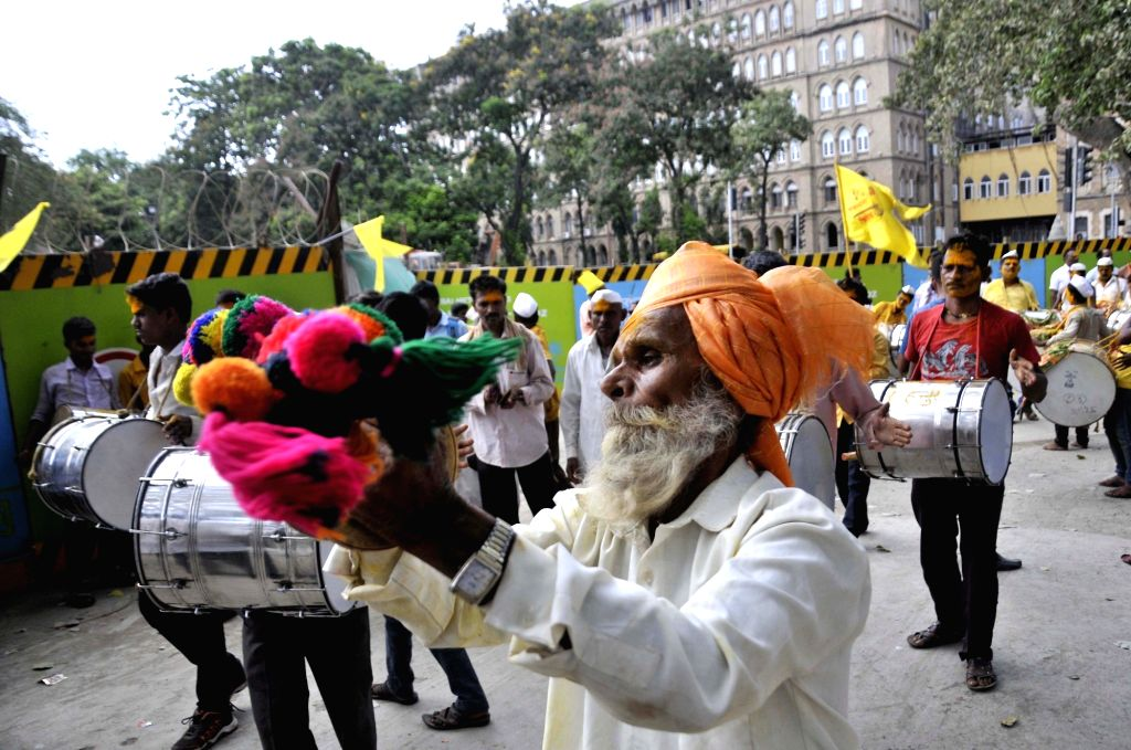 People belonging to Dhangar community participate in a demonstration to demand for reservation to their community in Mumbai, on May 22, 2018.