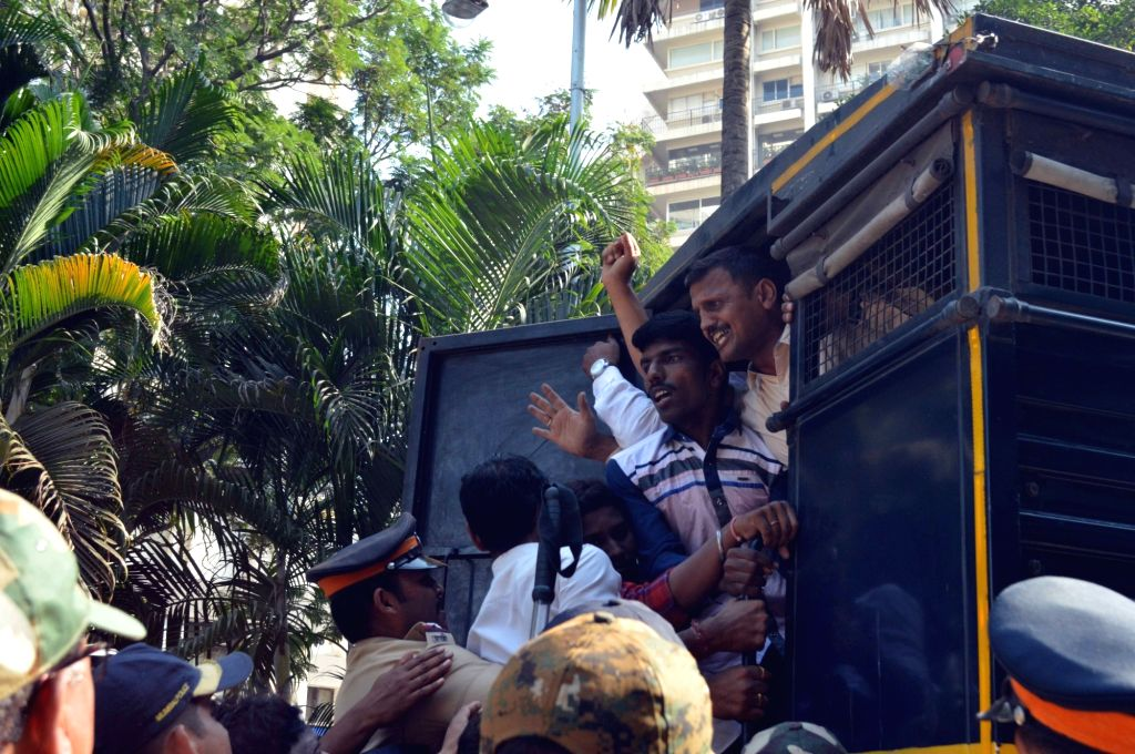 People belonging to Dhangar community staging a demonstration to press for reservation being taken away by police in Mumbai on Nov 30, 2018.