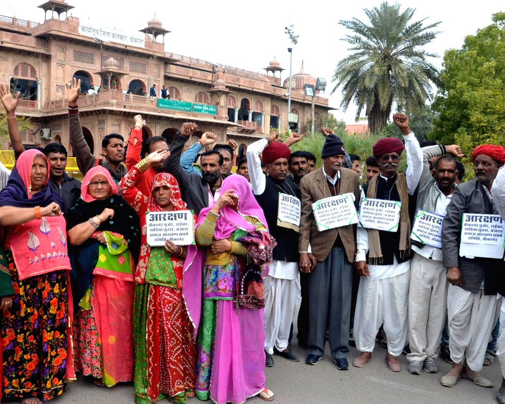 People belonging to Gujjar community stage a demonstration to demand five per cent reservation in state jobs and educational institutions, in Bikaner on Feb 13, 2019.