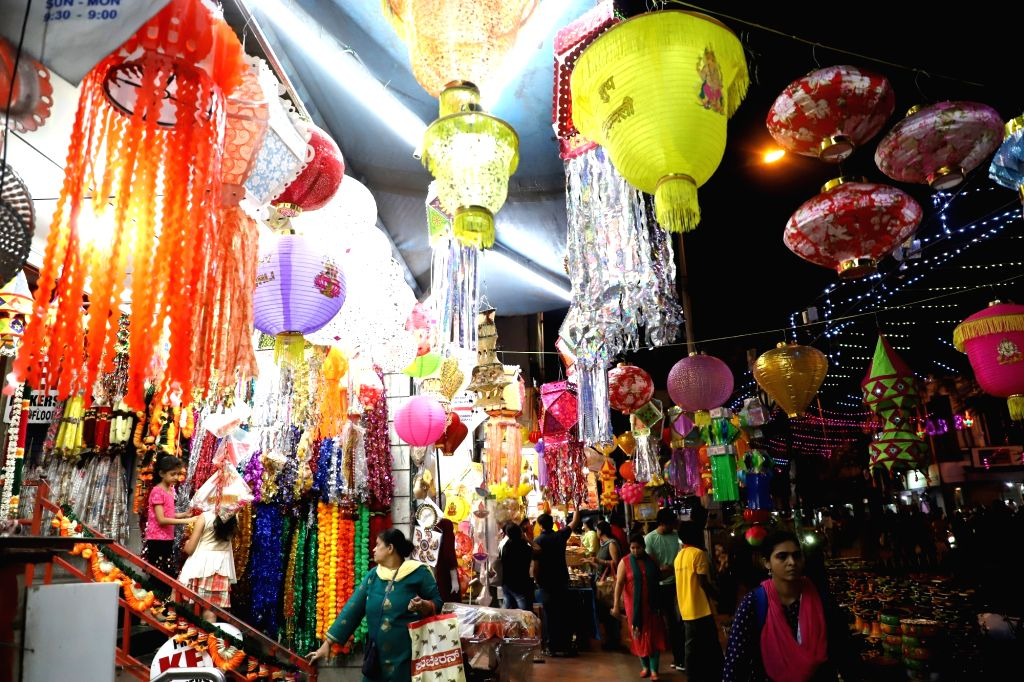 People busy shopping ahead of Diwali, in Bengaluru on Oct 25, 2019.
