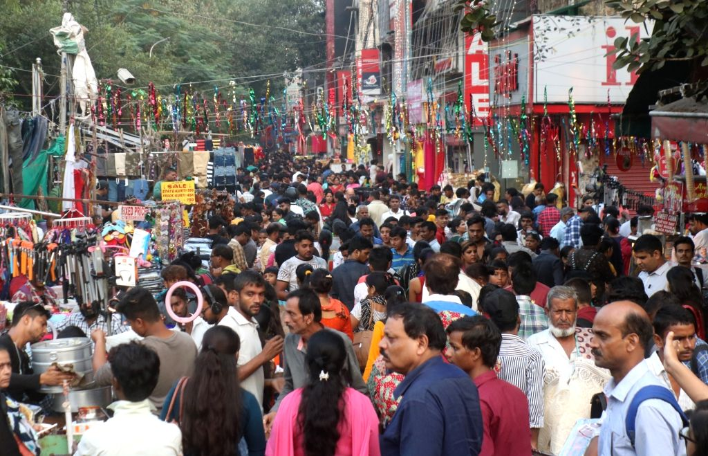 People busy shopping ahead of Diwali, in New Delhi on Oct 25, 2019.