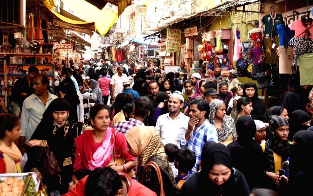 People busy shopping ahead of Eid, in Jaipur, on May 26, 2019.