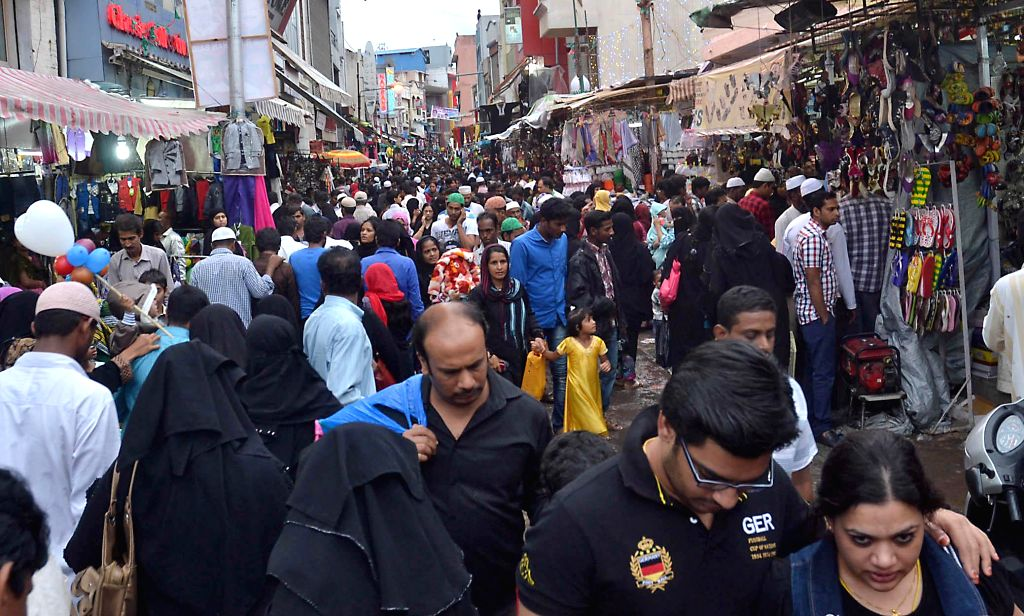 People busy shopping ahead of Eid ul-Fitr in Bangalore on July 27, 2014.