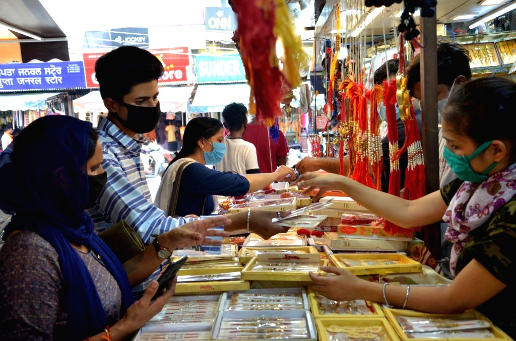People busy shopping ahead of Raksha Bandhan celebrations, in Amritsar on July 30, 2020.