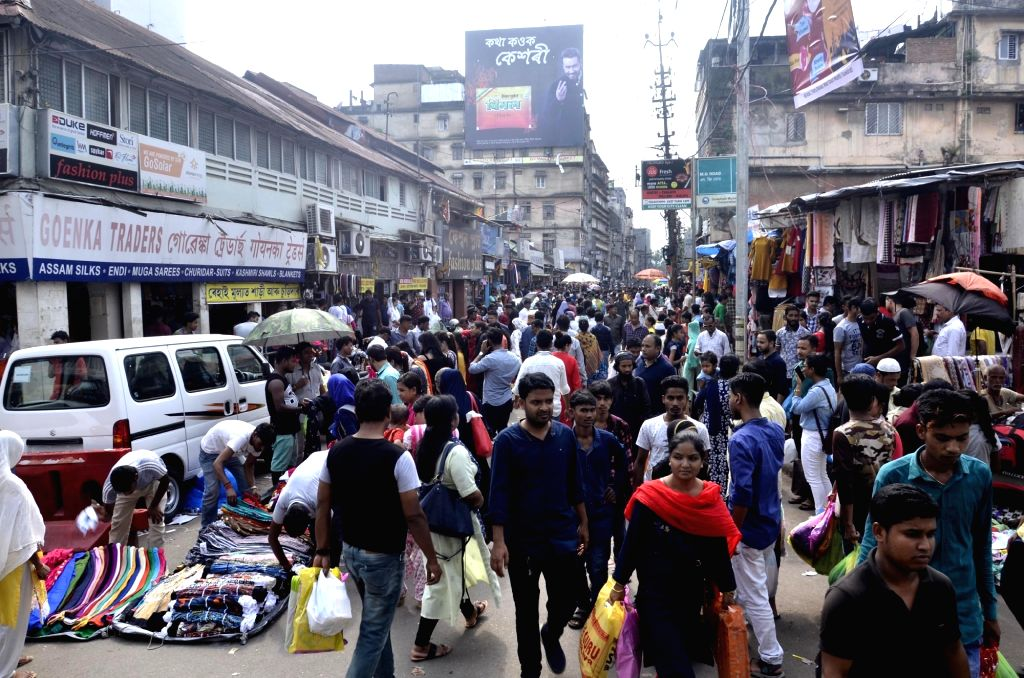 People busy shopping ahead of the Eid festival, in Guwahati on June 2, 2019.