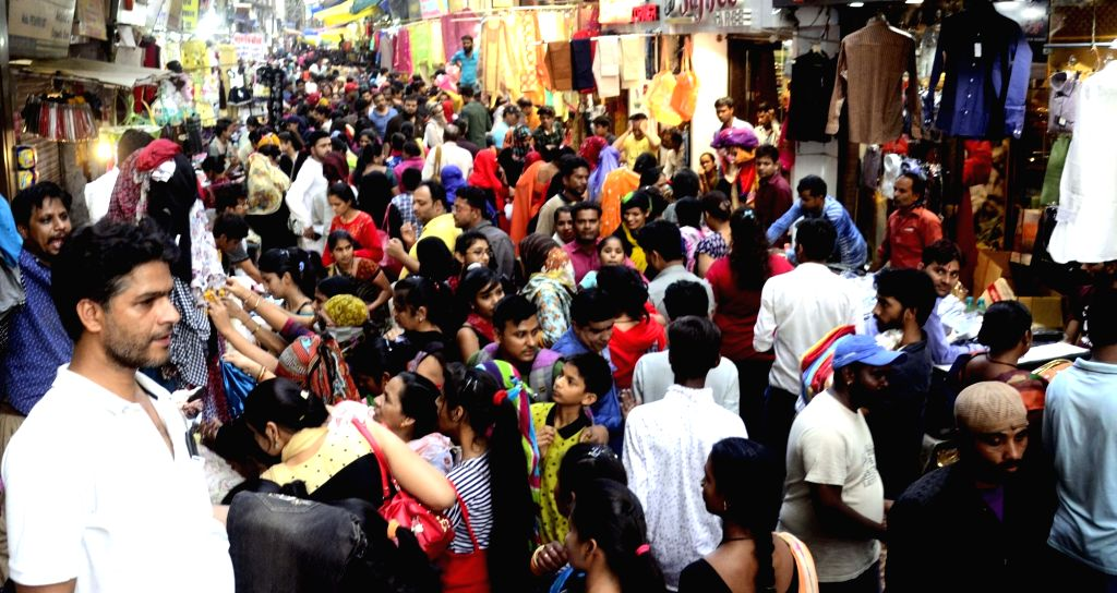 People busy shopping ahead of the Eid festival, in Bhopal on June 2, 2019.