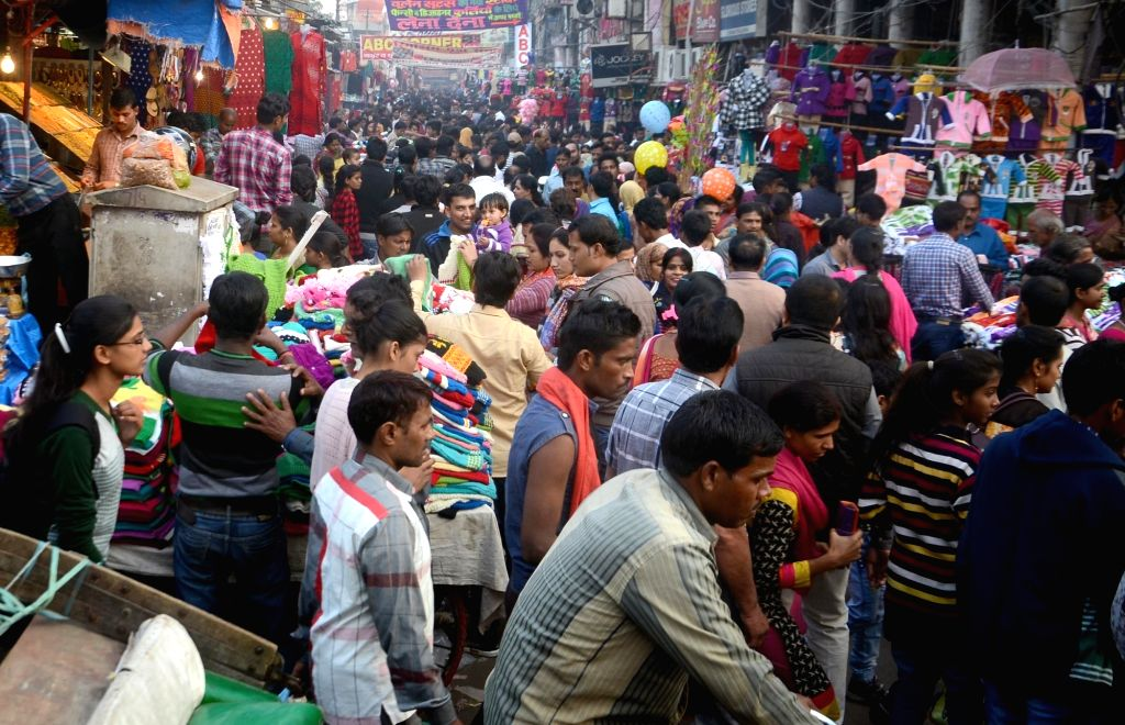 People busy shopping during Lucknow Mahotsav on Nov 27, 2016.