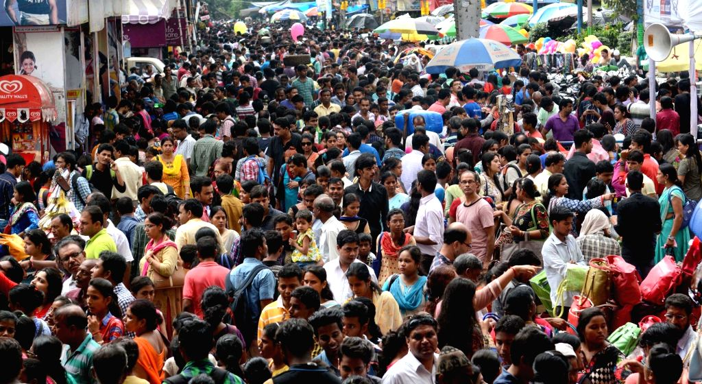 People busy shopping for Durga Puja at New Market in Kolkata, on Oct 5, 2016.