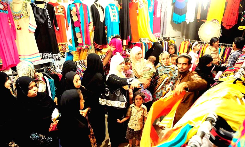 People busy with Eid shopping in Allahabad on June 25, 2017.