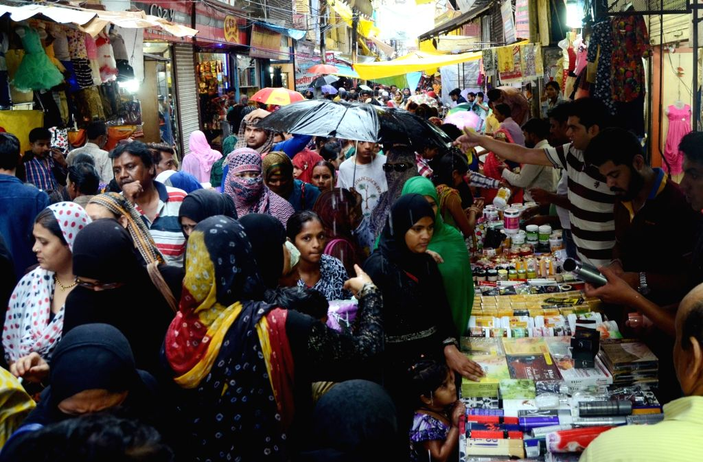 People busy with Eid shopping in Bhopal on July 3, 2016.