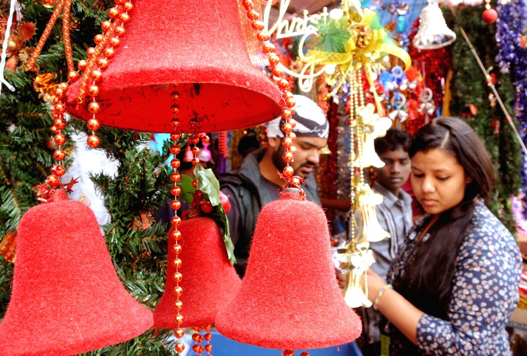 People busy with shopping on the Christmas eve in Bengaluru, on Dec 24, 2014.