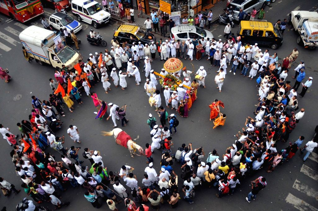 People celebrate Ashadhi Ekadashi in Girgaon of Mumbai, on July 2, 2017.