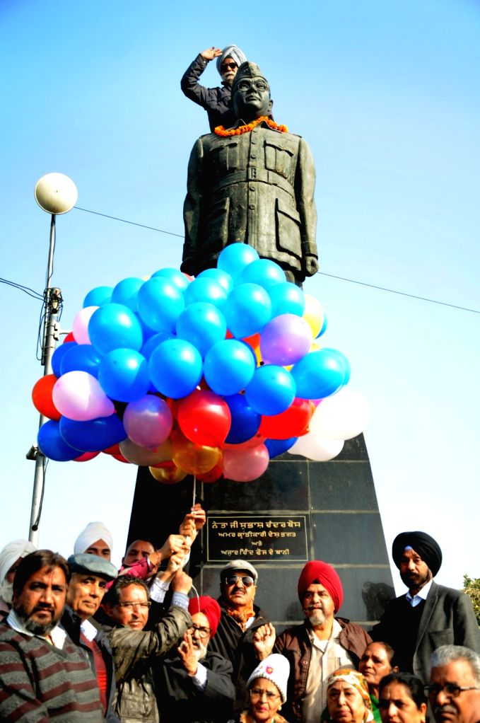 People celebrate birth anniversary of freedom fighter Netaji Subhas Chandra Bose in Amritsar on Jan 23, 2019.
