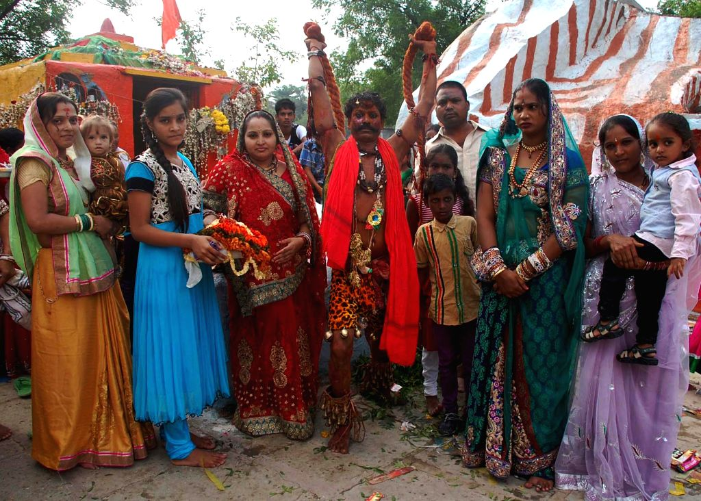 People celebrate Bonalu festival at Dhoolpet of Hyderabad on July 7, 2014.