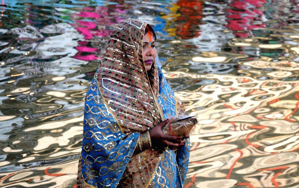 People celebrate  Chhath Puja in Amritsar on Nov 17, 2015.