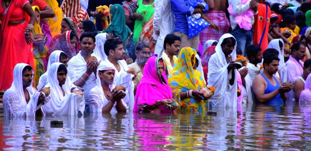People celebrate Chhath Puja in Jaipur, on Nov 17, 2015.
