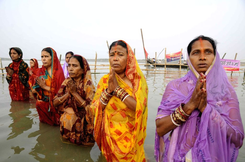 People celebrate Chhath Puja in Patna on Nov 17, 2015.