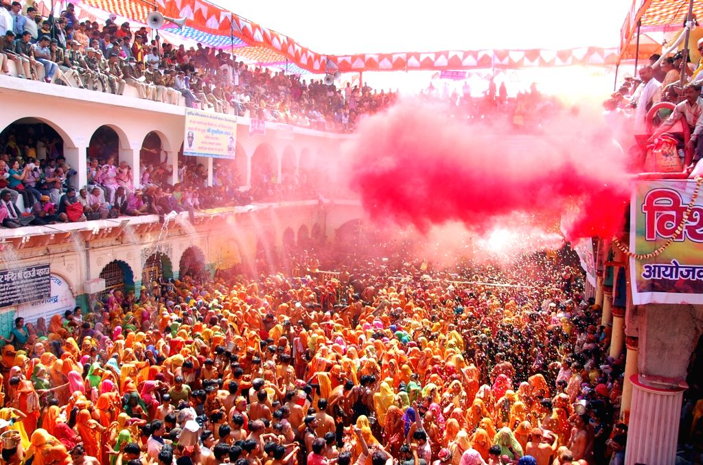"People celebrate ""Dauji Huranga"" in Baldeo near Mathura on March 14, 2017."
