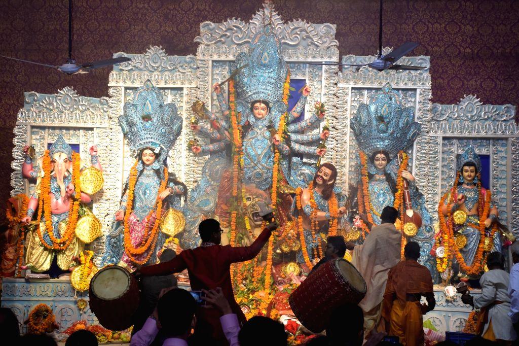 People celebrate Durga Puja in Jaipur on Oct 10, 2016.