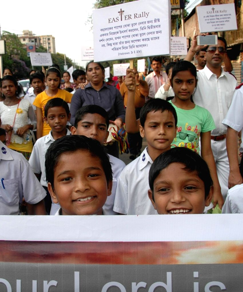 People celebrate Easter in Kolkata on April 16, 2017.