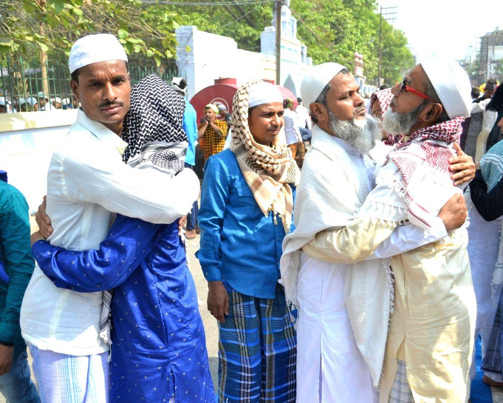 People celebrate Eid-ul-Fitr in Varanasi on June 5, 2019.