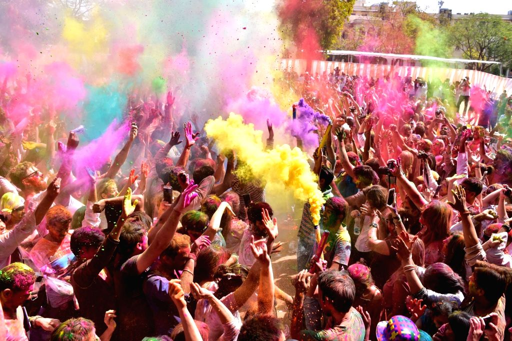 People celebrate Holi in Jaipur on March 13, 2017.