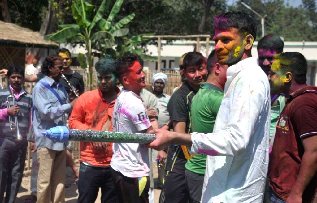 People celebrate Holi in Patna on March 13, 2017.